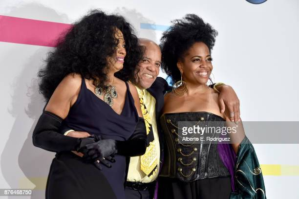Diana Ross Berry Gordy and Rhonda Ross Kendrick pose in the press room during the 2017 American Music Awards at Microsoft Theater on November 19 2017...