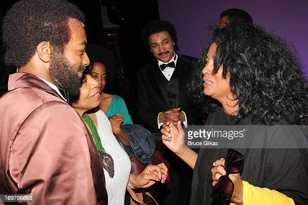 Diana Ross chats with the cast backstage at the hit musical Motown The Musical on Broadway at The LuntFontanne Theater on June 1 2013 in New York City