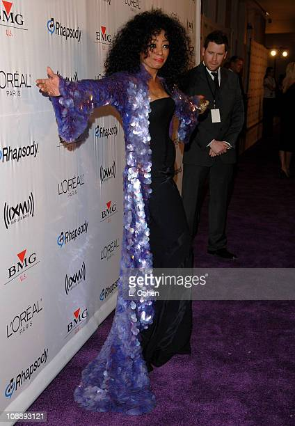 Diana Ross during 2006 Clive Davis PreGRAMMY Awards Party Red Carpet at Beverly Hilton in Beverly Hills California United States