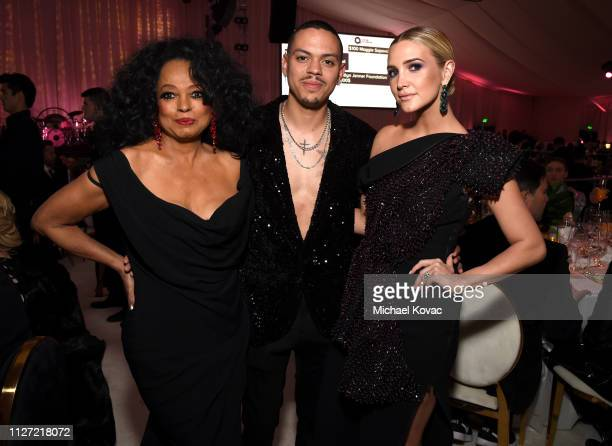 Diana Ross Evan Ross and Ashlee Simpson attend the 27th annual Elton John AIDS Foundation Academy Awards Viewing Party sponsored by IMDb and Neuro...