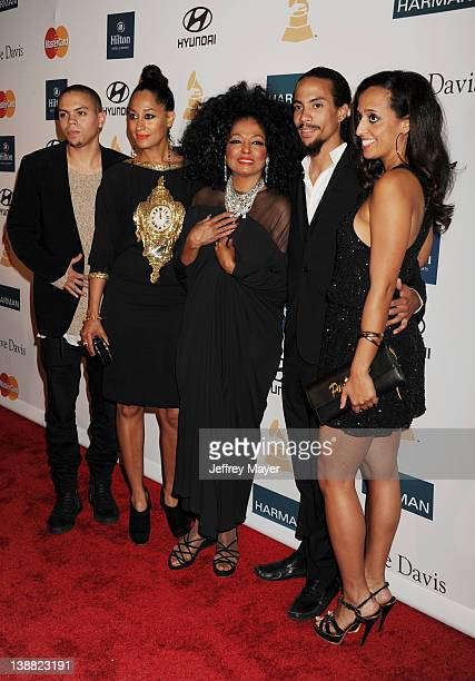 Diana Ross Evan Ross Tracee Ellis Ross Chudney Ross and Rhonda Ross Kendrick arrive at the Clive Davis and The Recording Academy's 2012 PreGRAMMY...