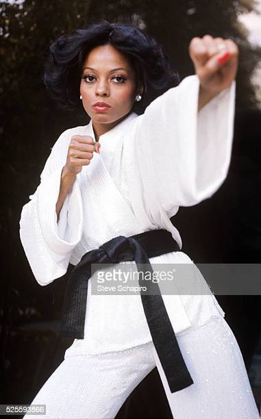 Diana Ross in a karate pose