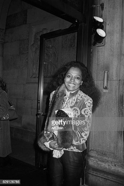 Diana Ross in embroidered jacket with fur trim circa 1970 New York