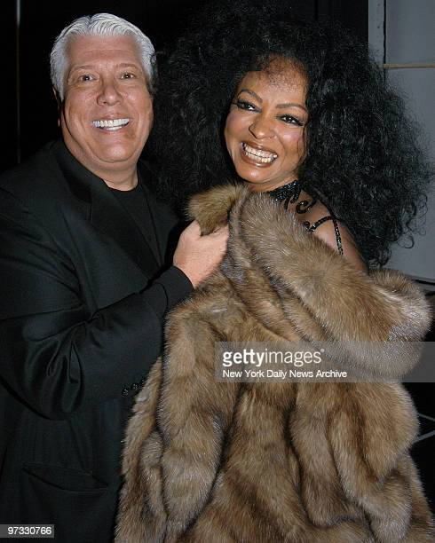 Diana Ross is joined backstage by Dennis Basso where she headlined his fur fashion show at Cipriani 42nd Street