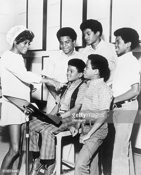 Diana Ross left with The Jackson Five Tito Jackie and Jermaine and Michael and Marlon