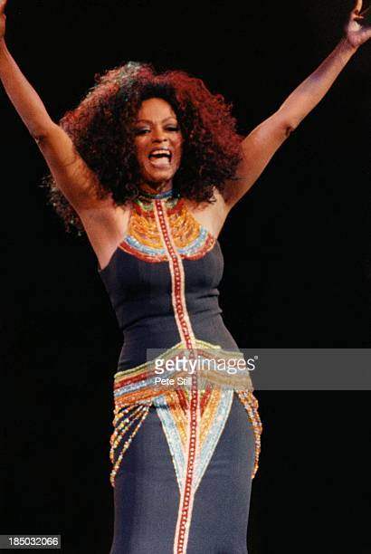 Diana Ross performs on stage at the Birmingham NEC, on June 26th, 1997 in Birmingham, England.