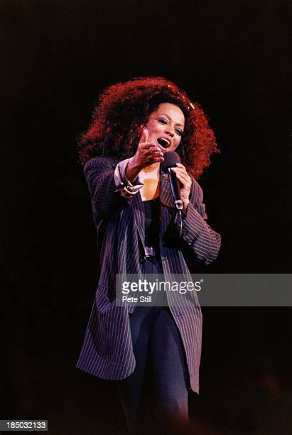 Diana Ross performs on stage at the Birmingham NEC on June 26th 1997 in Birmingham England