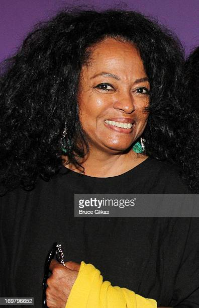 Diana Ross poses backstage at the hit musical Motown The Musical on Broadway at The LuntFontanne Theater on June 1 2013 in New York City