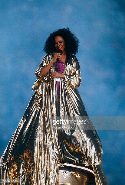 Diana Ross preforms during haft time of Super Bowl XXX between the Dallas Cowboys and Pittsburgh Steelers on January 28 1996 at Sun Devil Stadium in...