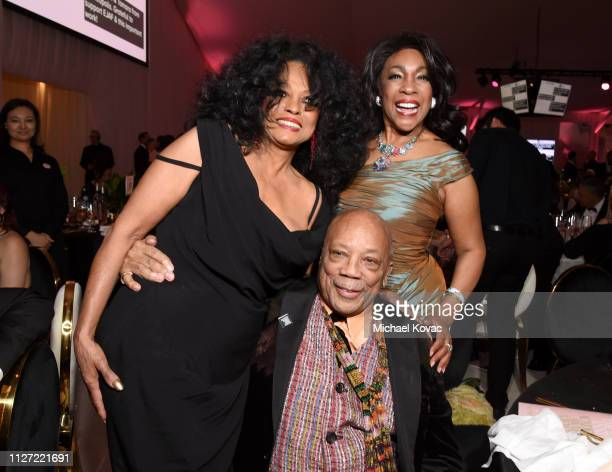 Diana Ross Quincy Jones and Mary Wilson attend the 27th annual Elton John AIDS Foundation Academy Awards Viewing Party sponsored by IMDb and Neuro...