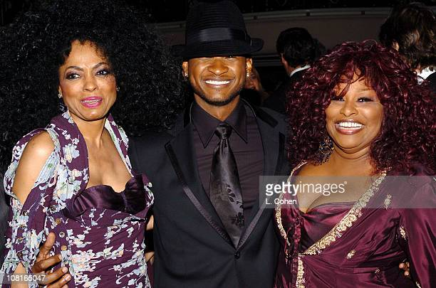 Diana Ross Usher and Chaka Khan during Clive Davis' 2005 PreGRAMMY Awards Party Dinner and Show at Beverly Hills Hotel in Beverly Hills California...