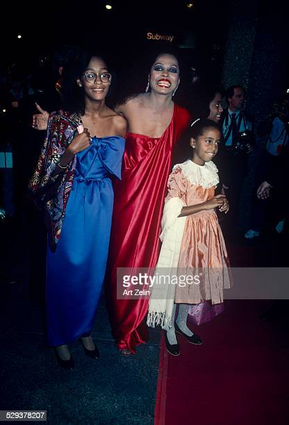 Diana Ross with her daughters at a red carpet event circa 1970 New York