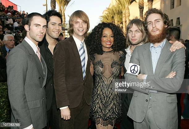 Diana Ross with Maroon 5 during 32nd Annual American Music Awards Red Carpet at Shrine Auditorium in Los Angeles California United States