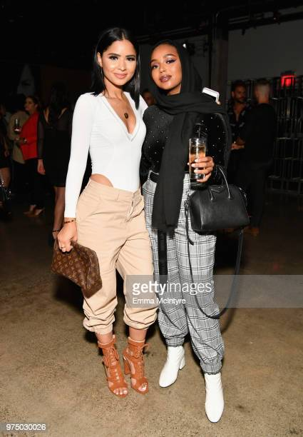 Diana Saldana and guest attend MAC Cosmetics Aaliyah Launch Party on June 14 2018 in Hollywood California