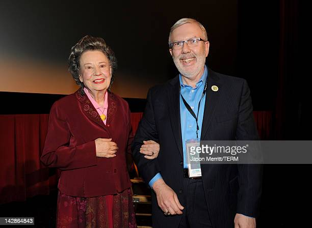 Diana Serra Cary also know as actress Baby Peggy Montgomery and film critic Leonard Maltin attend the screening of the film 'Baby Peggy The Elephant...
