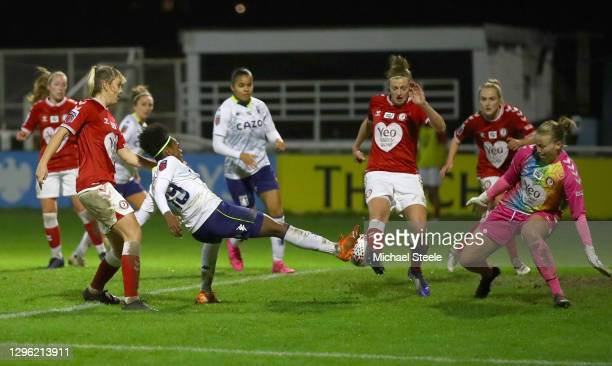 Diana Silva of Aston Villa has a shot blocked by Yana Daniels of Bristol City during the FA Women's Continental League Cup Quarter Final match...