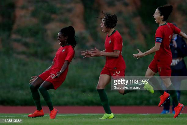 Diana Silva of Portugal Women Celebrates 10 with Jessica Silva of Portugal Women Claudia Neto of Portugal Women during the Algarve Cup Women match...