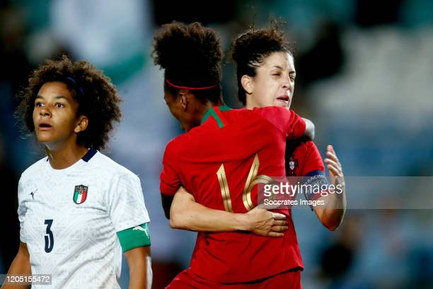 Diana Silva of Portugal Women Claudia Neto of Portugal Women celebrate goal during the Algarve Cup Women match between Portugal v Italy at the...