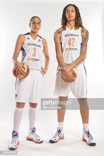 Diana Taurasi and Brittney Griner of the Phoenix Mercury poses for a photo during 2013 Phoenix Mercury Media Day on May 10 2013 at US Airways Center...