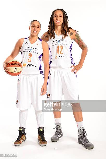 Diana Taurasi and Brittney Griner of the Phoenix Mercury poses for a photo during the Phoenix Mercury Media Day on May 13 2014 at US Airways Center...