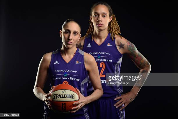 Diana Taurasi and Brittney Griner of the Phoenix Mercury poses for a photo during Media Day on May 8 2017 at the Talking Stick Resort Arena in...