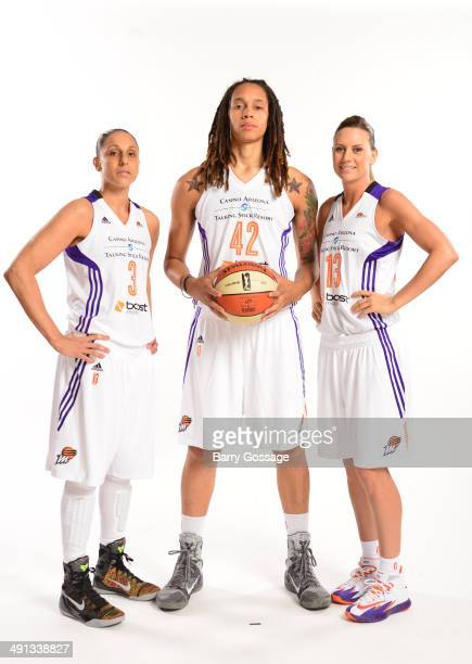 Diana Taurasi Brittney Griner and Penny Taylor of the Phoenix Mercury poses for a photo during the Phoenix Mercury Media Day on May 13 2014 at US...