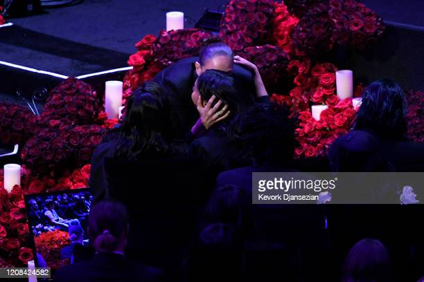 Diana Taurasi hugs Vanessa Bryant during The Celebration of Life for Kobe Gianna Bryant at Staples Center on February 24 2020 in Los Angeles...