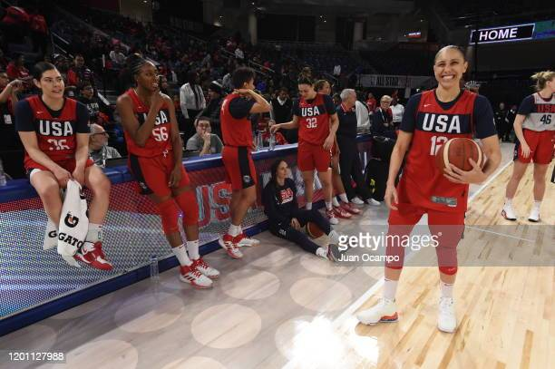 Diana Taurasi Nneka Ogwumike and Kelsey Plum of the Senior United States Women's National team look on during the USA Women's Basketball Showcase as...