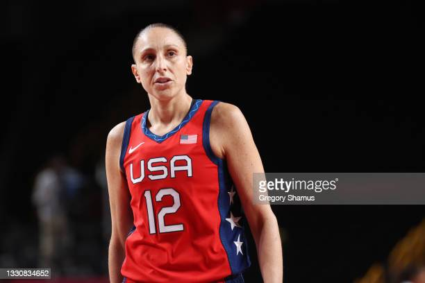 Diana Taurasi of Team United States looks on against Nigeria during a Women's Preliminary Round Group B game on day four of the Tokyo 2020 Olympic...