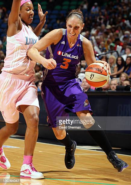 Diana Taurasi of the Phoenix Mercury against Candice Wiggins of the Minnesota Lynx during the game on August 2 2011 at Target Center in Minneapolis...