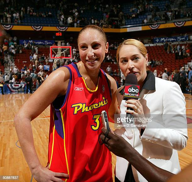 Diana Taurasi of the Phoenix Mercury against the Connecticut Sun on May 22 2004 at the Mohegan Sun Arena in Uncasville Connecticut NOTE TO USER User...