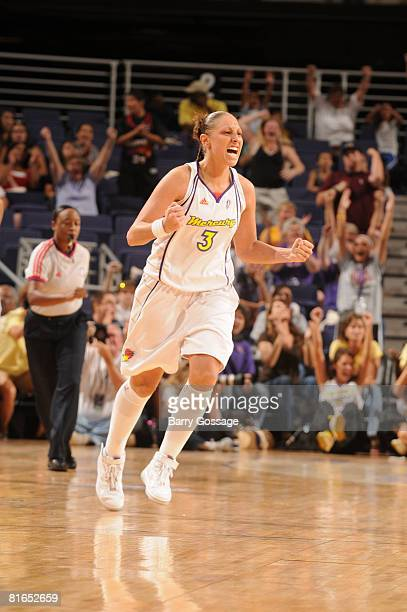 Diana Taurasi of the Phoenix Mercury cheers after making a three point shot against the Chicago Sky on June 20 at US Airways Center in Phoenix...