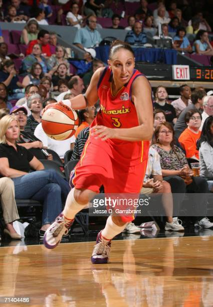 Diana Taurasi of the Phoenix Mercury drives against the New York Liberty at Madison Square Garden July 9 2006 in New York City NOTE TO USER User...