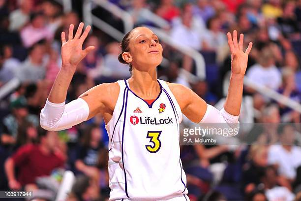 Diana Taurasi of the Phoenix Mercury gestures during the Game Two of the Western Conference Finals of the 2010 WNBA Playoffs against the Seattle...