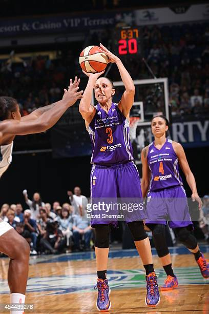 Diana Taurasi of the Phoenix Mercury goes for the shot against the Minnesota Lynx during the WNBA Western Conference Finals Game 2 on August 31 2014...