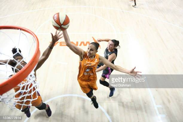 Diana Taurasi of the Phoenix Mercury grabs the rebound during the game against the Minnesota Lynx on August 30, 2020 at Feld Entertainment Center in...