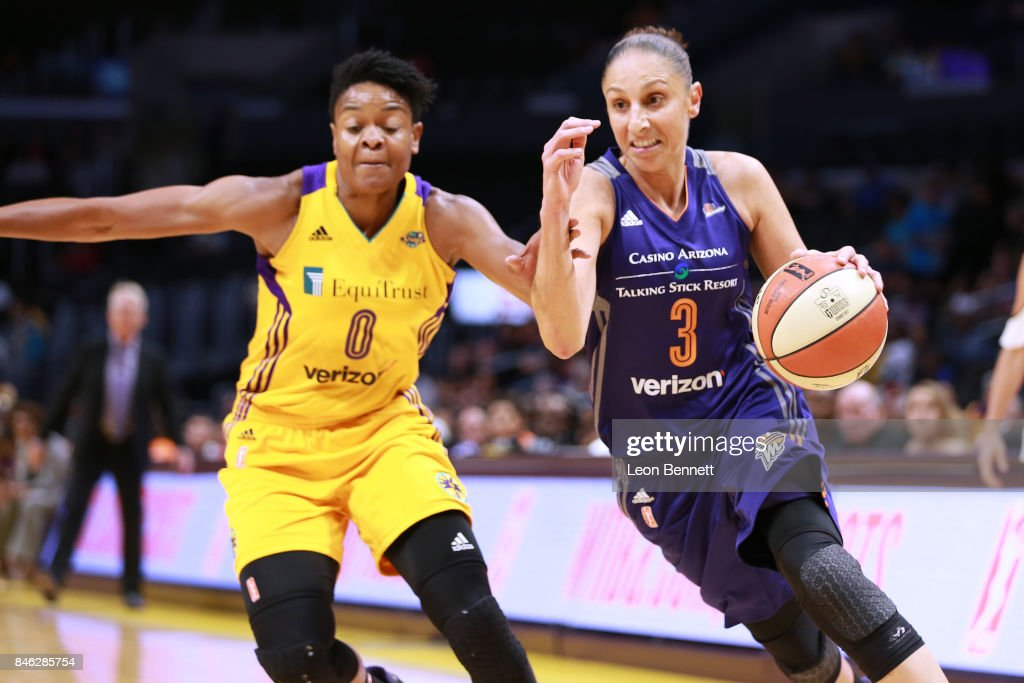 Diana Taurasi #3 of the Phoenix Mercury handles the ball against Alana Beard #0 of the Los Angeles Sparks during a WNBA Playoff Game at Staples Center on September 12, 2017 in Los Angeles, California.