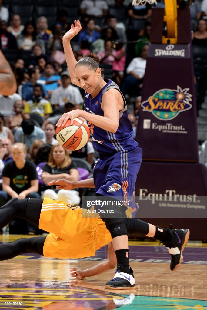 Diana Taurasi #3 of the Phoenix Mercury handles the ball against the Los Angeles Sparks on June 18, 2017 at STAPLES Center in Los Angeles, California.