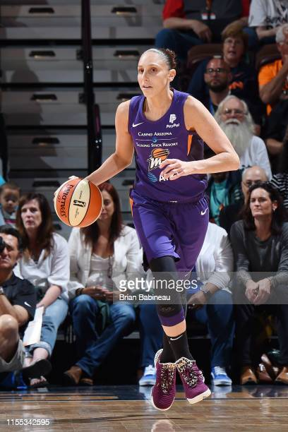 Diana Taurasi of the Phoenix Mercury handles the ball during the game against Connecticut Sun on July 12 2019 at the Mohegan Sun Arena in Uncasville...