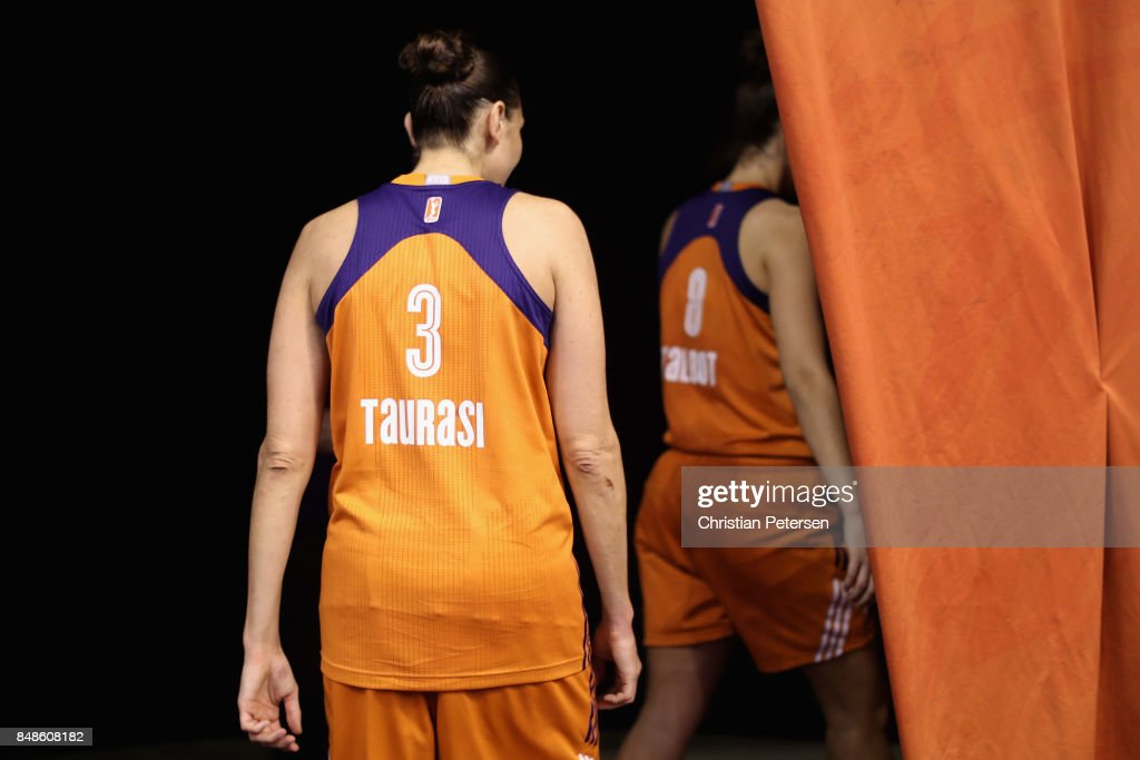 Diana Taurasi #3 of the Phoenix Mercury leaves the court following semifinal game three of the 2017 WNBA Playoffs against the Los Angeles Sparks at Talking Stick Resort Arena on September 17, 2017 in Phoenix, Arizona. The Sparks defeated the Mercury 89-87.
