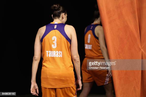 Diana Taurasi of the Phoenix Mercury leaves the court following semifinal game three of the 2017 WNBA Playoffs against the Los Angeles Sparks at...