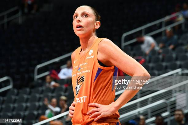Diana Taurasi of the Phoenix Mercury looks on during the game against the Atlanta Dream on August 29 2019 at State Farm Arena in Atlanta Georgia NOTE...