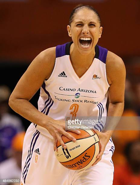 Diana Taurasi of the Phoenix Mercury reacts after a foul was called during the first half of game three of the WNBA Western Conference Finals against...