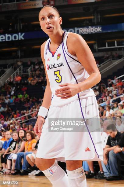 Diana Taurasi of the Phoenix Mercury reacts during the WNBA game against the Seattle Storm on June 21 2009 at US Airways Center in Phoenix Arizona...