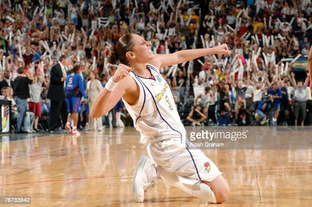 Diana Taurasi of the Phoenix Mercury reacts to winning Game Four of the WNBA Finals at the US Airways Center on September 13 2007 in Phoenix Arizona...