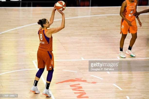 Diana Taurasi of the Phoenix Mercury shoots a free throw during the first half against the Washington Mystics at Feld Entertainment Center on August...