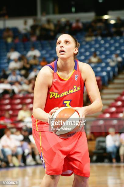 Diana Taurasi of the Phoenix Mercury shoots a free throw during the preseason game against the Sacramento Monarchs on May 12 2005 at Arco Arena in...