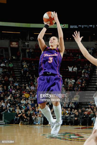 Diana Taurasi of the Phoenix Mercury shoots a jumper during the WNBA game against the Seattle Storm on June 11 2008 at the Key Arena in Seattle...