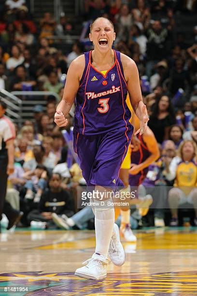 Diana Taurasi of the Phoenix Mercury shows emotion during the game against the Los Angeles Sparks on June 6 2008 at Staples Center in Los Angeles...