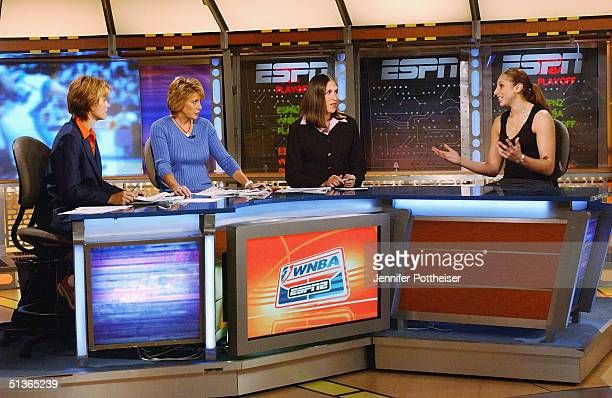 Diana Taurasi of the Phoenix Mercury sits in the ESPN Studios after receiving the 2004 Rookie of the Year award on September 27 2004 in Bristol...